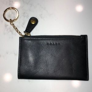 COACH black leather coin purse key chain